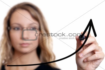 Businesswoman drawing a chart