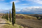 Tuscan landscape in winter, Val d'Orcia (Italy).