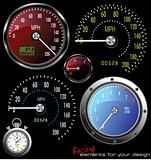 set of vector speedometer