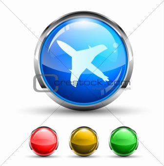Airplane Cristal Glossy Button
