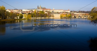 Prague Castle with Charles bridge, Prague, Czech Republic