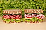 Sandwiches with salami and ham