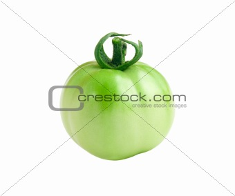 Green Tomato Isolated on White