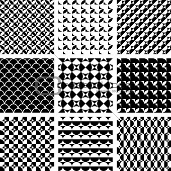 Seamless geometric patterns in op art design.