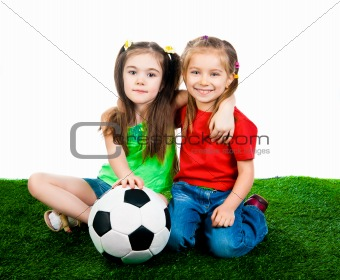 Small kids with soccer ball