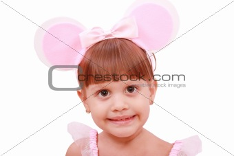Portrait of girl with bunny ears headband,  isolated on white ba