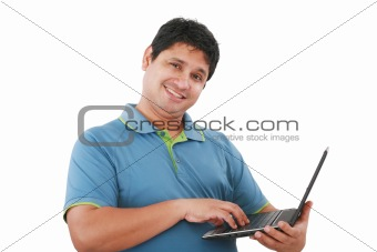 Happy young man with laptop - isolated on white