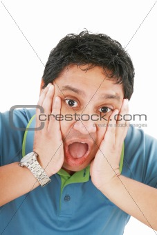 Young man has opened mouth from surprise, isolated on white back