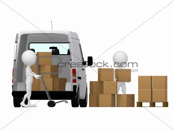 3d small persons carrying the hand truck with boxes. Boxes and v