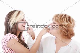 daughter and mother profiles, playful woman