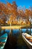 Peaceful Park Pond Boats