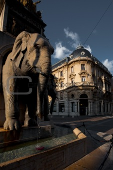 Central Chambery Elephant Water Fountain