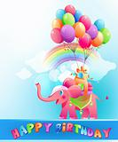 Happy birthday postcard with pink elephant