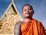 portrati of buddhist monk near temple, Cambodia, Asia