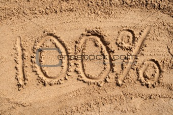 100% written on a sandy beach.