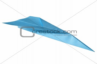 Blue paper plane, isolated on a white background.