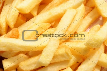 A close up of chips from a UK cafe.