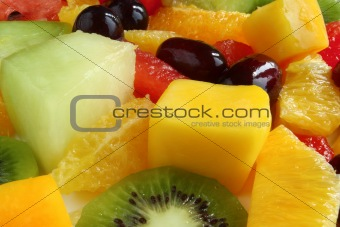 Close up of a fruit salad.