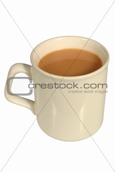A mug of tea, isolated on a white background