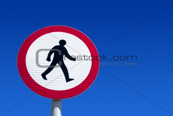British no pedestrians road sign.