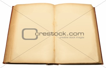 An old book with blank pages ready for text.