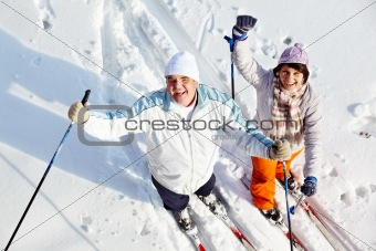 Cheerful skiers