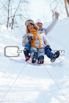 Tobogganing couple