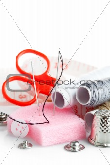 tools for needlework thread scissors and tape measure