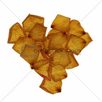 dried petals heart