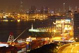 container terminal at night in city