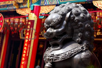 Bronze lion in chinese temple