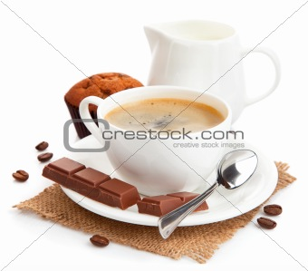 coffee with milk and cake