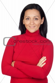 Adorable woman with red t-shirt