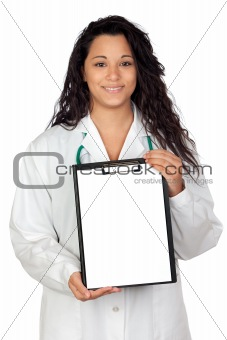 Attractive brunette doctor with clipboard
