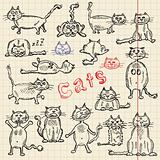 Sketch set of cats for your design