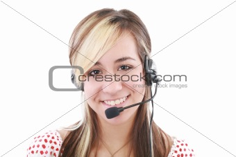 Beautiful business woman with headset. Call center. Customer support.