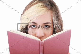 Happy woman with a book