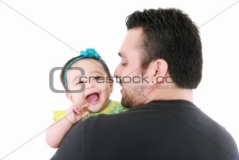 Happy young father and his baby daughter