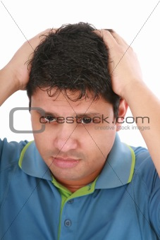 Portrait of young sad man worrying or having pain