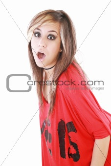 Shocked trendy teenage girl posing mouth open