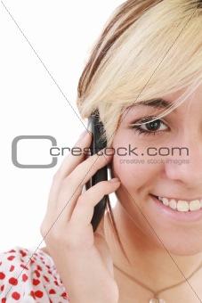 Beautiful elegant woman chatting on mobile phone, smiling