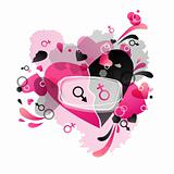 Heart black and pink