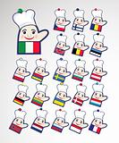 Set of international chefs icons