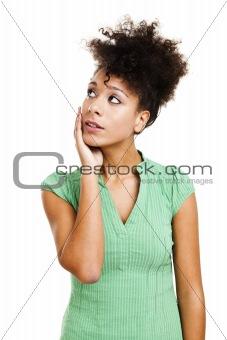 Beautiful woman thinking