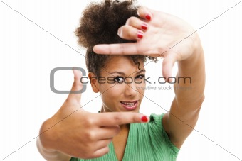 Beautiful woman creating a frame with fingers