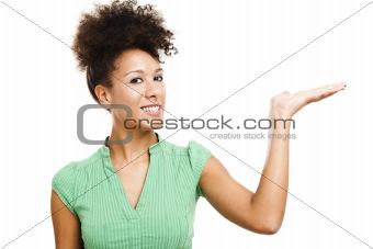 Beautiful woman displaying a product