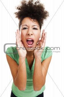 Beautiful woman shouting