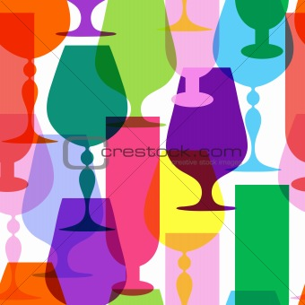 Colorful  limpid wineglasses
