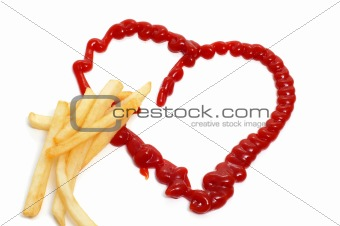 french fries and heart