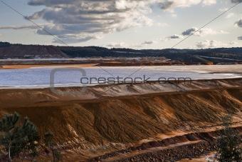 Dam copper mine waste